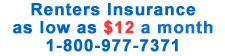Renters Insurance as low as $12 per month